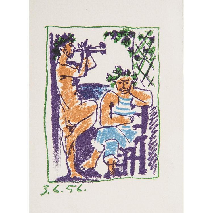 PABLO PICASSO (1881-1973) FAUNE ET MARIN, 1956