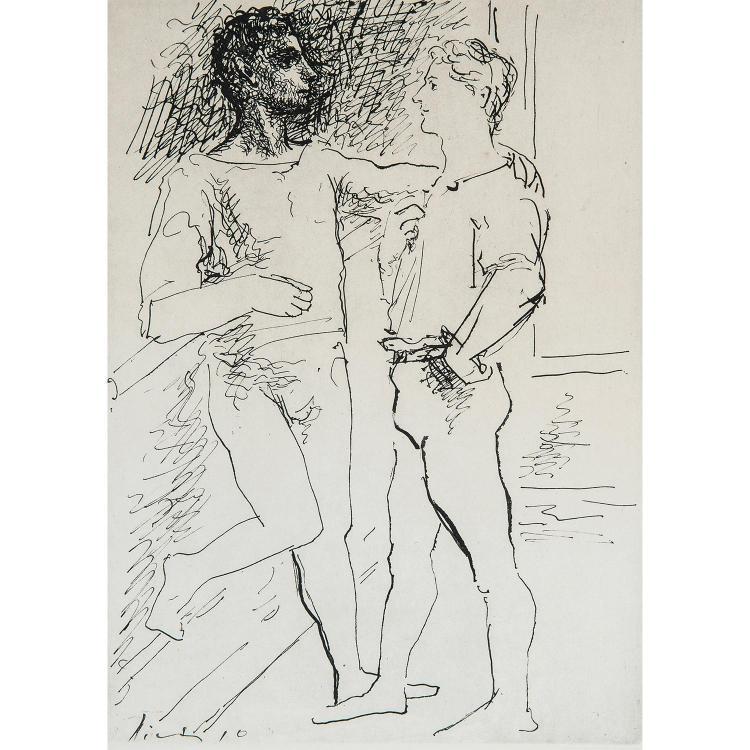 PABLO PICASSO, D'APRÈS (1881-1973) DEUX FIGURES D'HOMMES