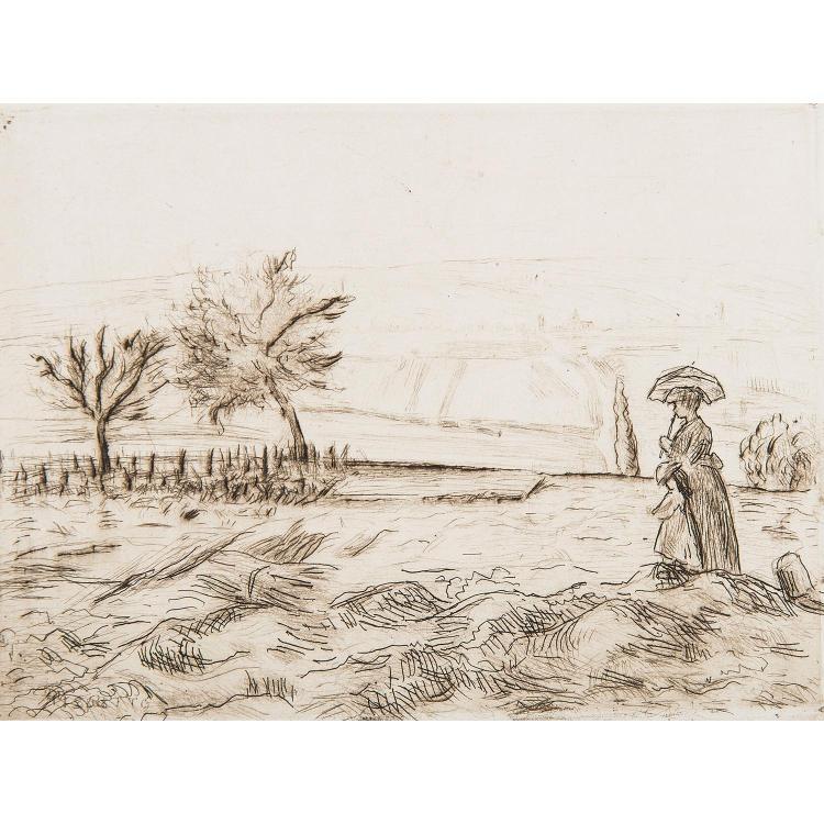 CAMILLE PISSARRO (1830-1903) ROUTE DE ROUEN, LES HAUTEURS DE PONTOISE
