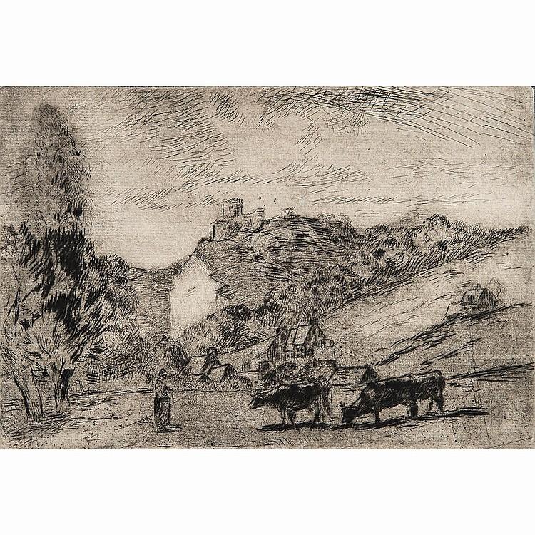 CAMILLE PISSARRO (1830-1903) CHÂTEAU DE LA ROCHE-GUYON