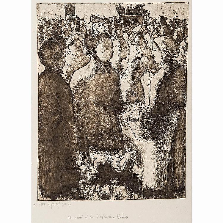 CAMILLE PISSARRO (1830-1903) MARCHÉ À LA VOLAILLE À GISORS