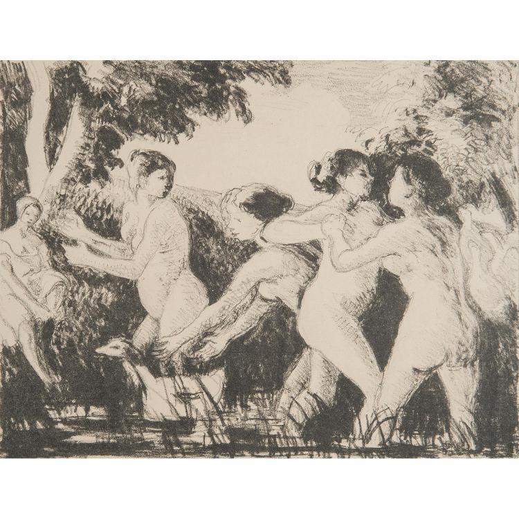 CAMILLE PISSARRO (1830-1903) BAIGNEUSES LUTTANT
