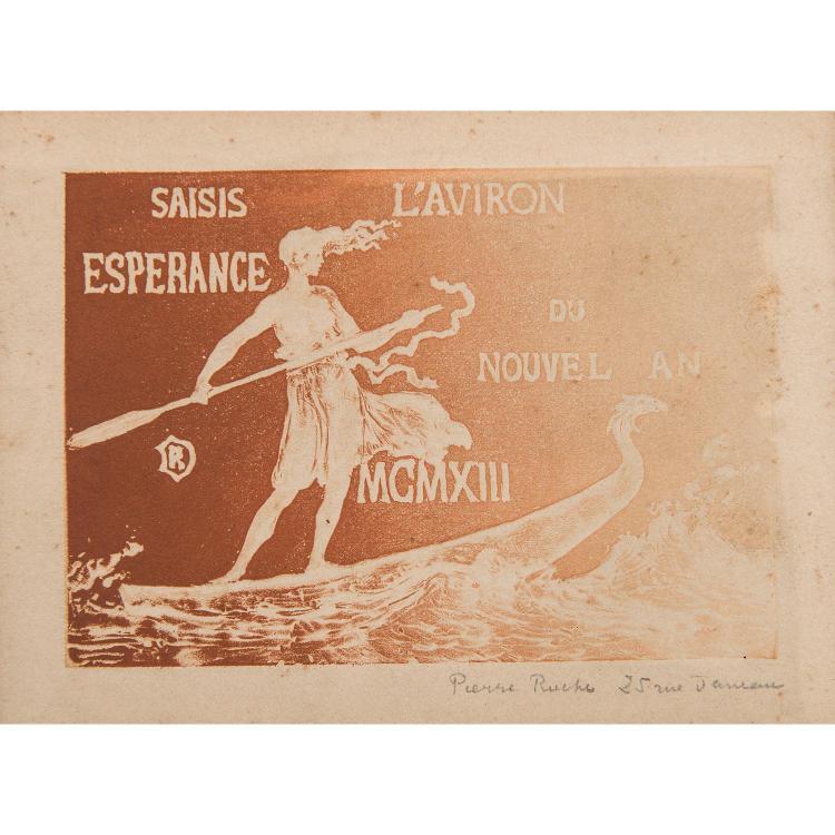 PIERRE ROCHE (1855-1922) SOUHAITS POUR 1899, 1902-SAISIS L'AVIRON DU NOUVEL AN, 1913-LA MOISSONNEUSE DE LAURIERS, 1916 ET AUTRES CAR...