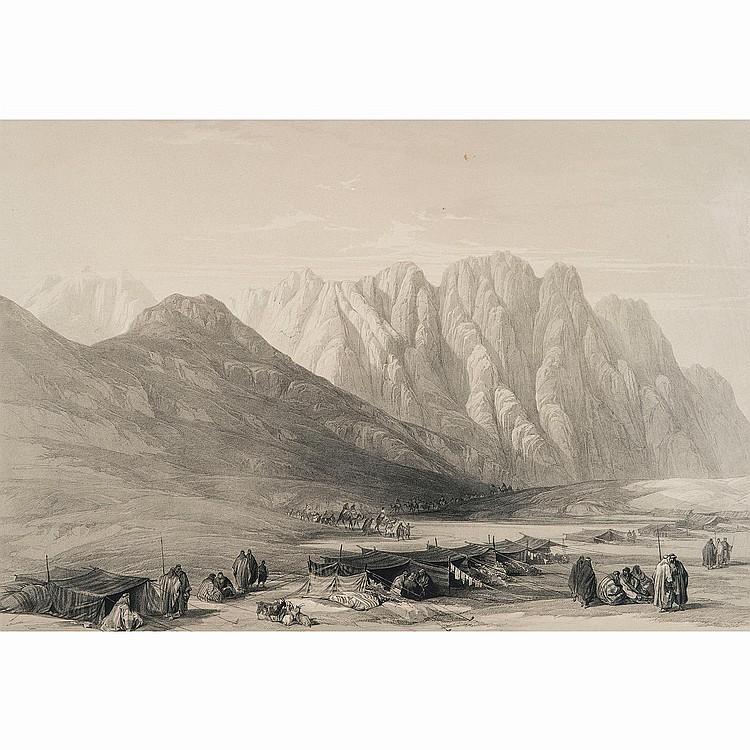 DAVID ROBERTS (1796-1864) LE MONT CARMEL (Sinaï)-CAMP DE AULAD-SAID MONT SINAI-HEBRON