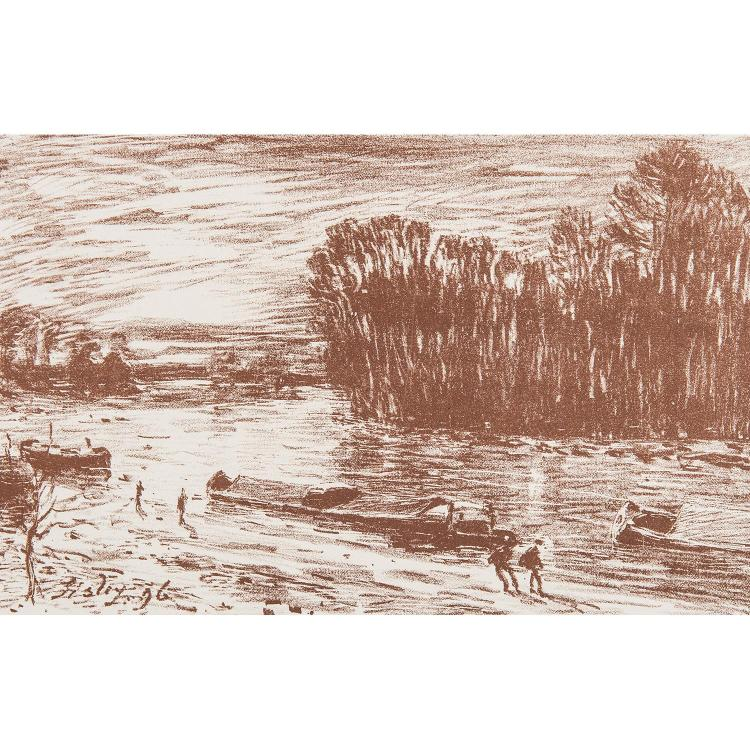 ALFRED SISLEY (1839-1899) BORDS DU LOIN: LA CHARRETTE-BORDS DU LOING, (près Saint Mammès)