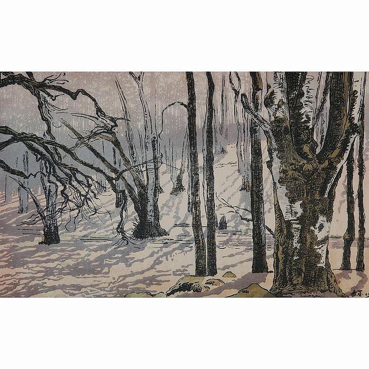 AMEDEE JOYAU (1871-1913) HÊTRES, PREMIER SOLEIL, Fontainebleau