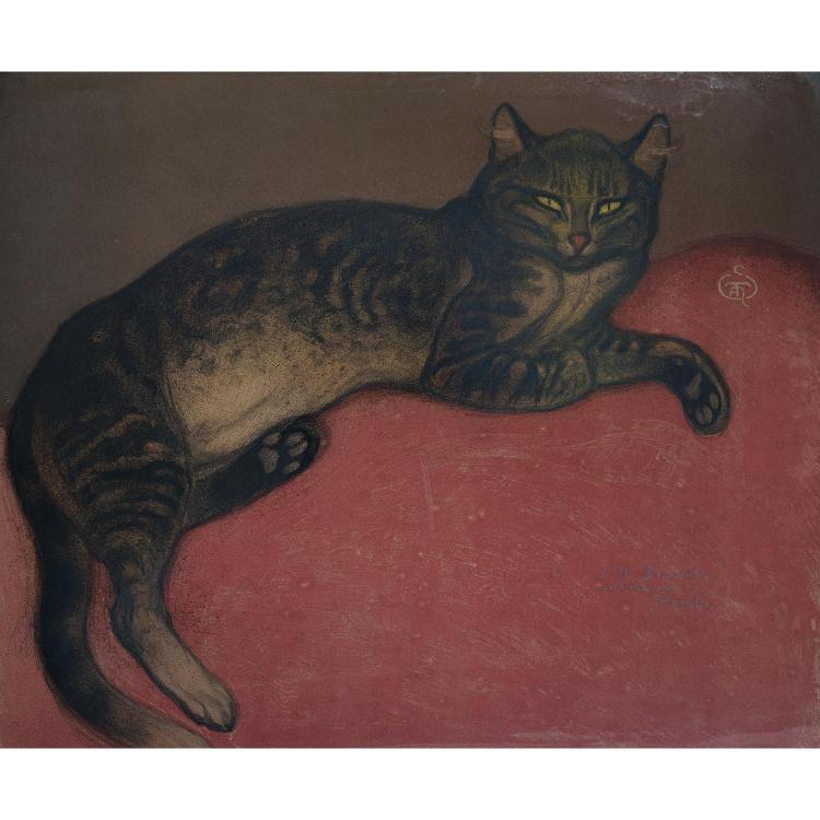 THÉOPHILE ALEXANDRE STEINLEN (1859-1923) L'HIVER CHAT SUR UN COUSSIN