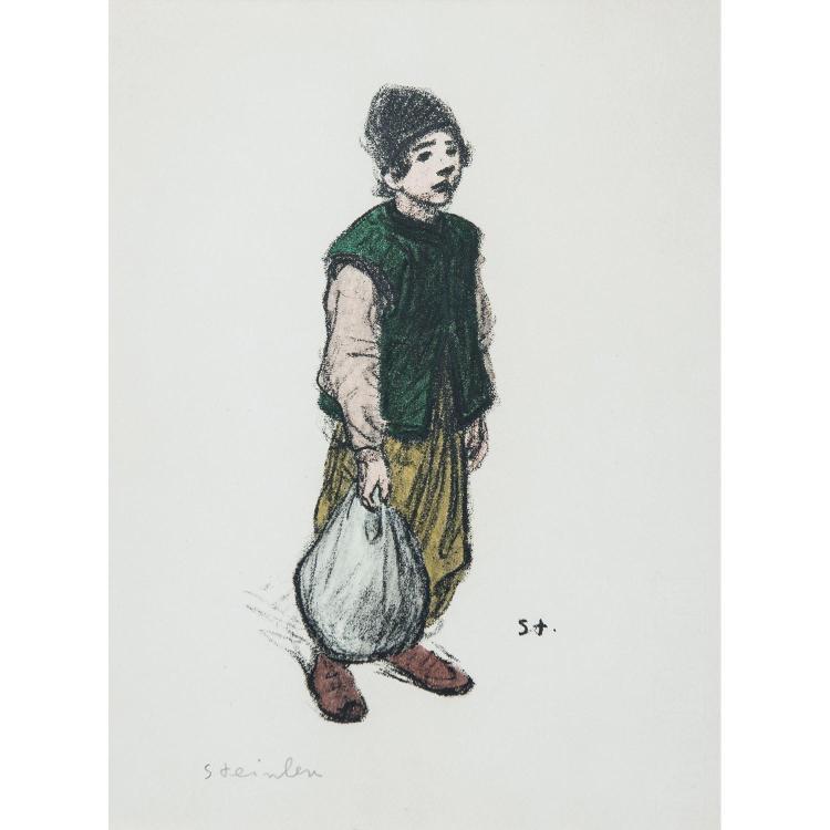 THÉOPHILE ALEXANDRE STEINLEN (1859-1923) FIGURES DE LA GUERRE: MÈRE ET ENFANT-ENFANT AU BALUCHON-CHANTEURS DES RUES