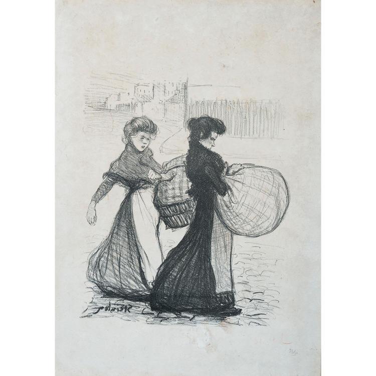 THÉOPHILE ALEXANDRE STEINLEN (1859-1923) BLANCHISSEUSES REPORTANT L'OUVRAGE - BLANCHISSEUSES - FAMILLE DE VAGABONDS