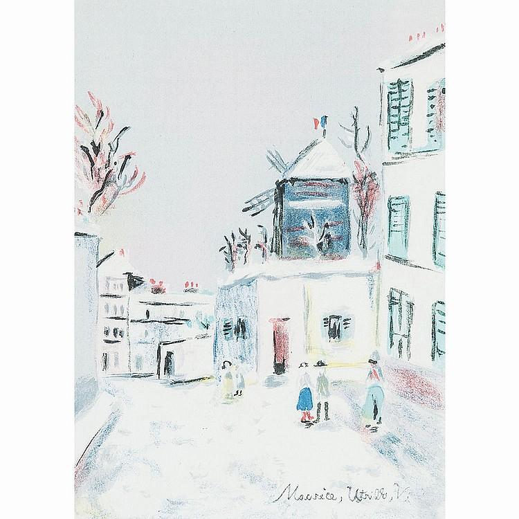 MAURICE UTRILLO (1883-1955) RUE DE MONTMARTRE SOUS LA NEIGE, planche de PARIS CAPITALE 1955