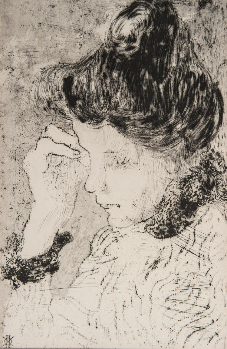 LOUIS VALTAT (1869-1952) FEMME DE PROFIL AU CHIGNON