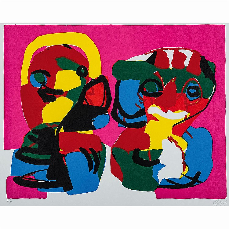 KAREL APPEL (1921-2006) TWO COLORFUL PERSONS, 1969