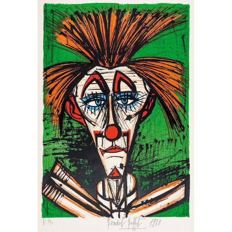 BERNARD BUFFET (1928-1999) CLOWN FOND VERT, 1978