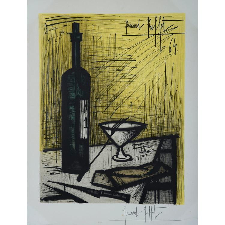 BERNARD BUFFET, D'APRÈS (1928-1999) BOUTEILLE ET VERRE, 1964