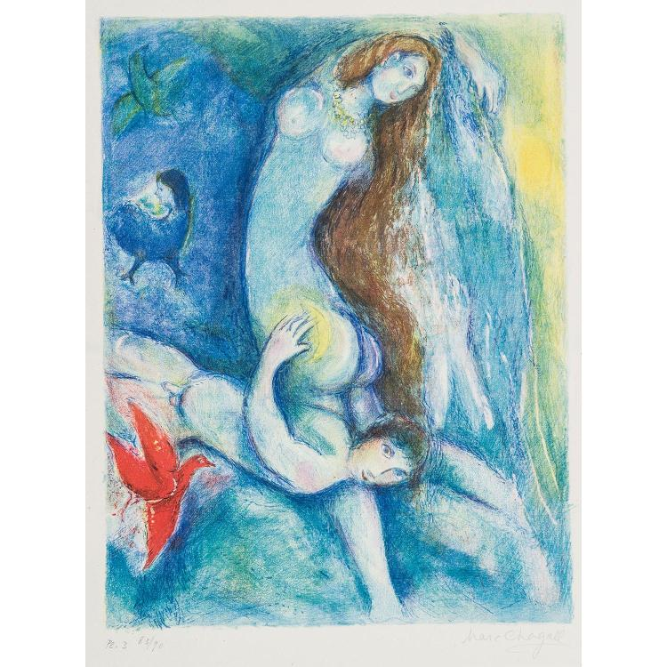 MARC CHAGALL (1887-1985) COUPLE SUR FOND BLEU, planche3 des Contes des Mille et une nuits