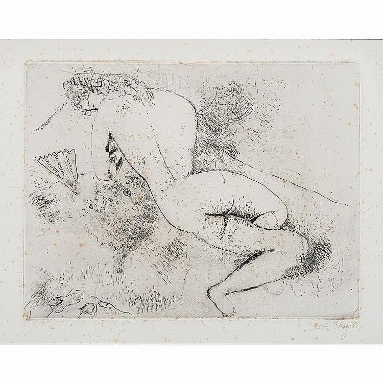 MARC CHAGALL (1887-1985) NU À L'EVENTAIL, 1924