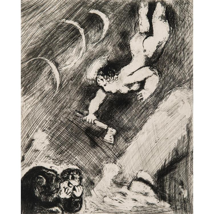 MARC CHAGALL (1887-1985) LES FABLES de Jean de La Fontaine pl. 35, 36, 52.