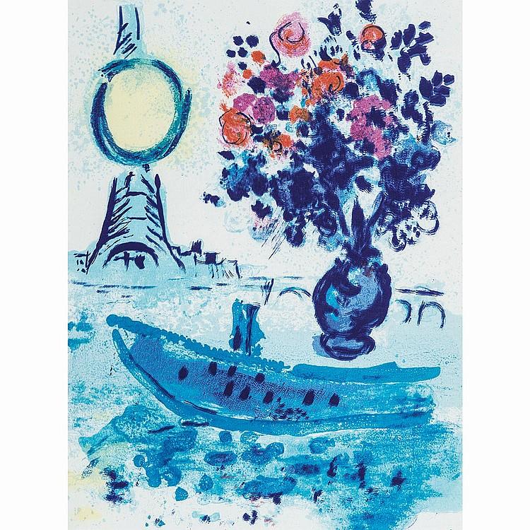 MARC CHAGALL (1887-1985) BATEAU MOUCHE AU BOUQUET, planche de Regards sur Paris, 1953.