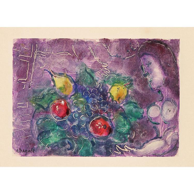 ƒ Marc Chagall (1887-1985) Corbeille de fruit sur fond violet 5 3/4 X 8 1/4 in.