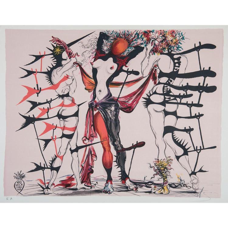 SALVADOR DALI (1904-1989) FEMMES FLEURS Lithographie en couleurs sur vélin d'Arches. Épreuve signée, annotée