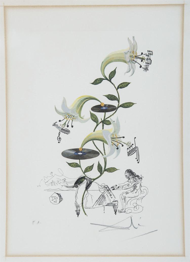 Salvador DALI, D''APRÈS (1904 - 1989) Flordali - lys Lithographie en couleurs sur vélin d''Arches. Épreuve signée en bas à droit...