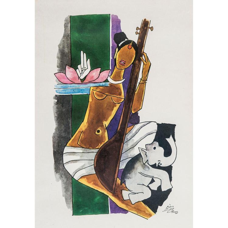 MAQBOOL FIDA HUSAIN (1915-2011) FEMME ET ÉLÉPHANT