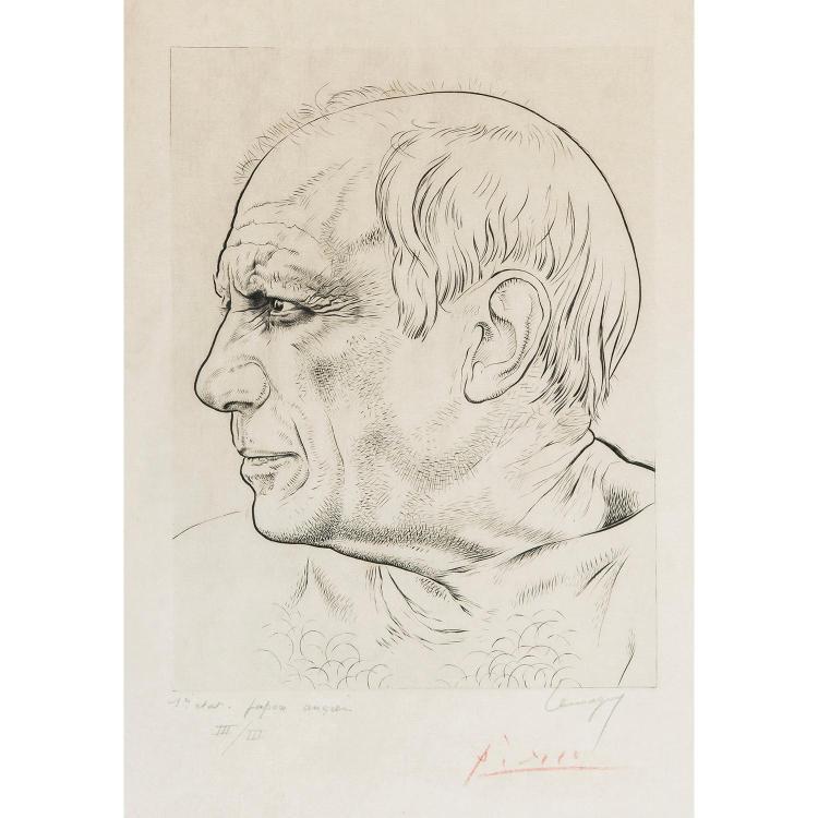 PAUL LEMAGNY (1905-1977) PORTRAIT DE PICASSO DE PROFIL