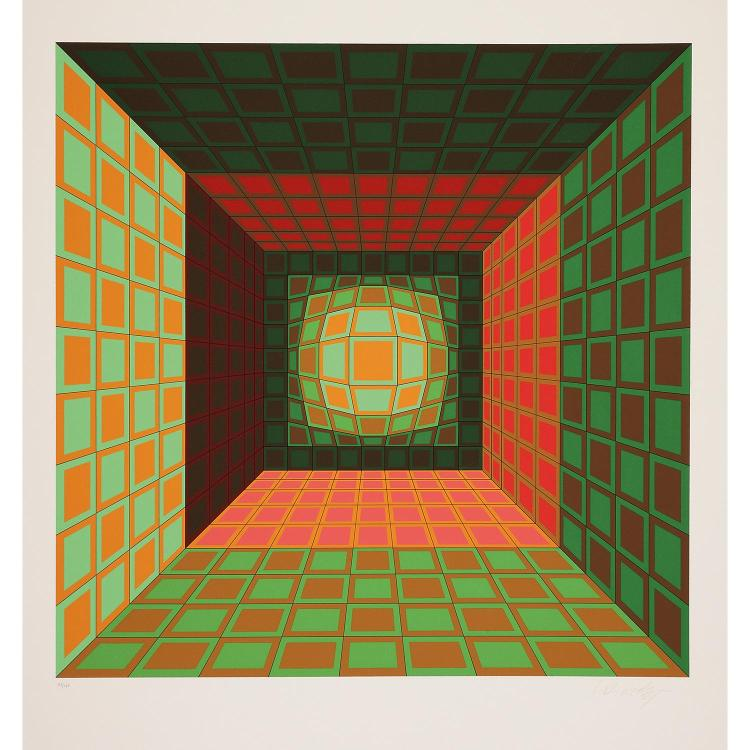 VICTOR VASARELY (1906-1997) COMPOSITION CINÉTIQUE ORANGE ET VERTE