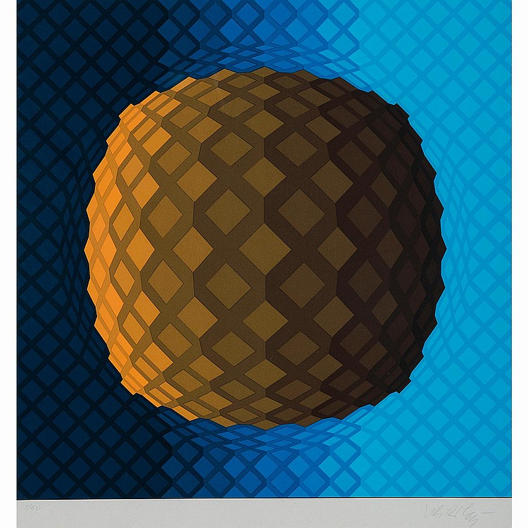 VICTOR VASARELY (1906-1997) BOULE ORANGE FOND BLEU