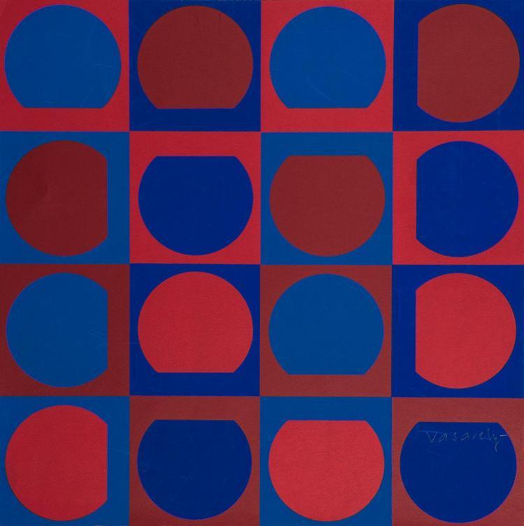 VICTOR VASARELY (1906-1997) COMPOSITION CINÉTIQUE BLEUE ET ROUGE