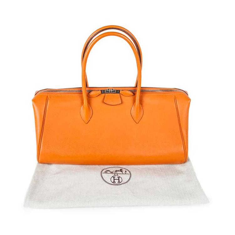 HERMÈS Sac à main Hermès Paris Bombay 2007 en cuir Epsom orange