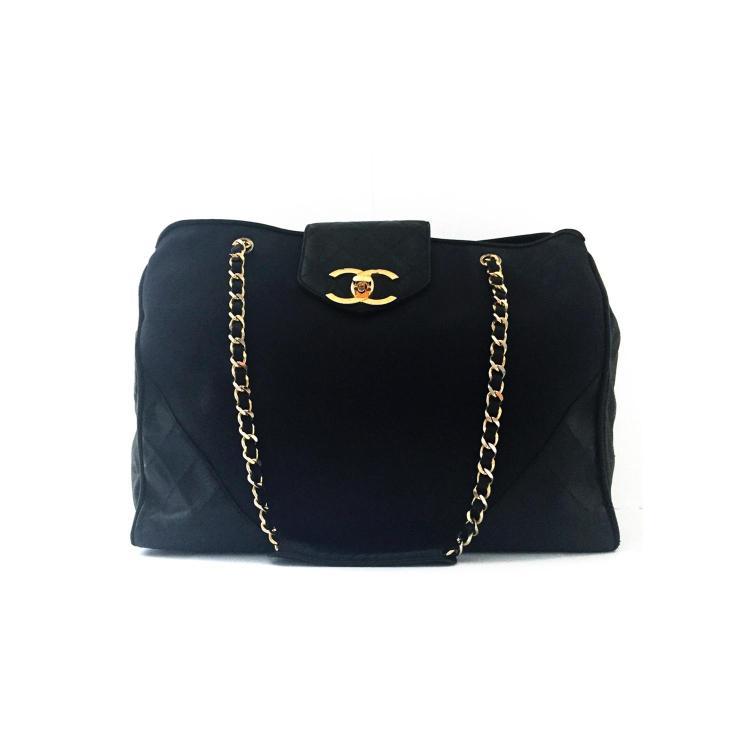 CHANEL Maxi cabas Chanel vintage en toile et cuir noir
