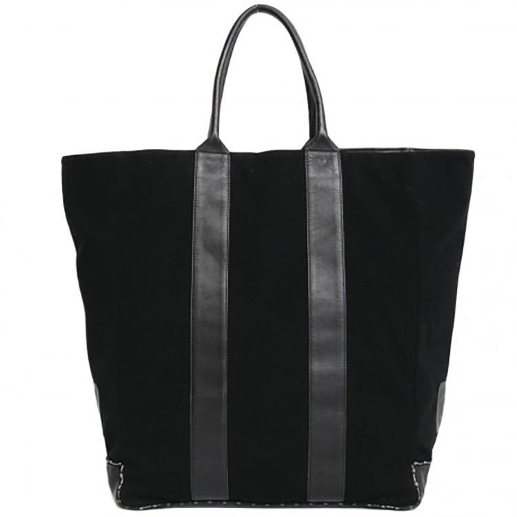 CHANEL Grand sac cabas Chanel en jersey et cuir noir
