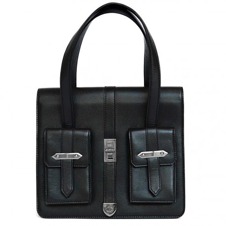 CHANEL Mini sac cabas Chanel en cuir noir