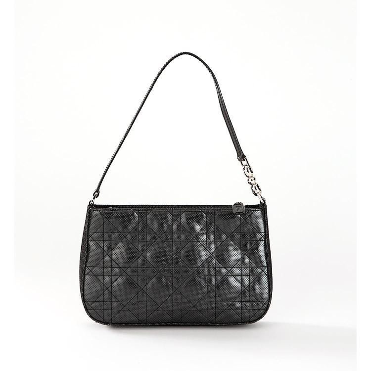 DIOR Sac pochette Dior en cuir cannage ajouré noir et jean noir
