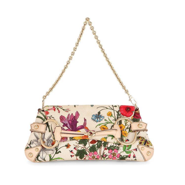 GUCCI Sac pochette Gucci en coton imprimé de fleurs multicolores