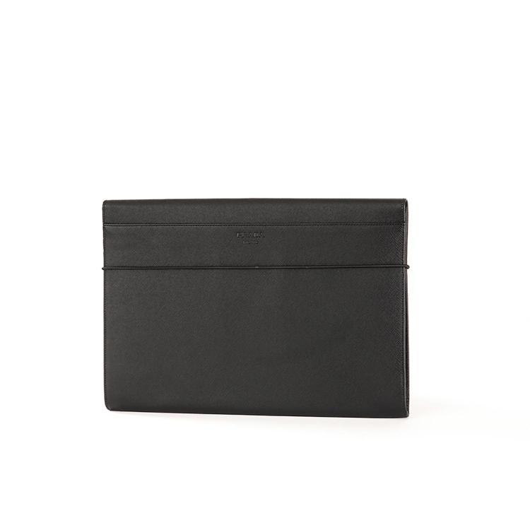 PRADA Porte document Prada pour homme en cuir saffiano noir