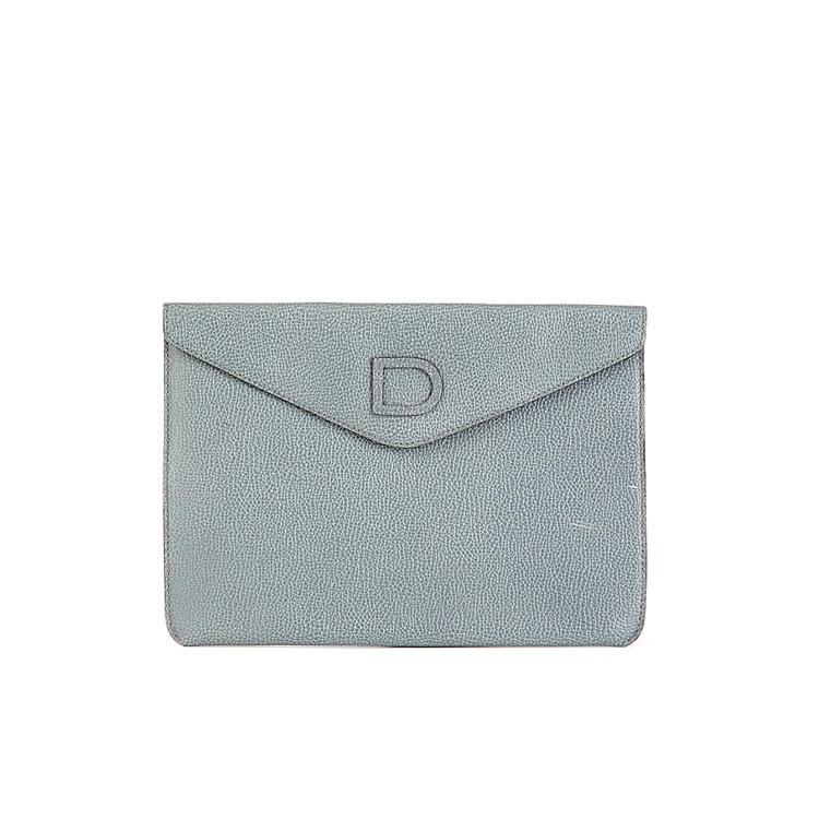 DELVAUX Pochette en cuir bleu gris