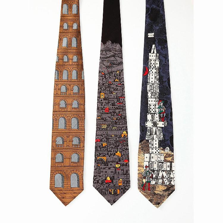 FORNASETTI Lot de trois cravates Fornasetti