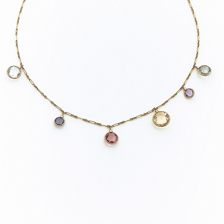 A multigem and gold necklace by DIOR.