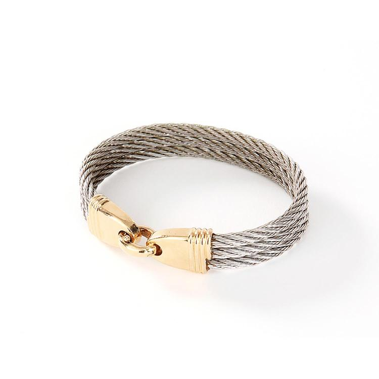 FRED BRACELET FORCE 10 A steel and gold bracelet by FRED.