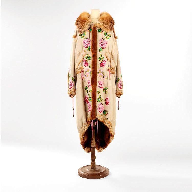 CHRISTIAN DIOR Manteau Christian Dior en peau & fourrure d''orylag & renard