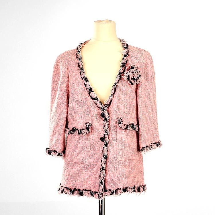 CHANEL Blazer - Veste tailleur Chanel en coton et soie rose & noir