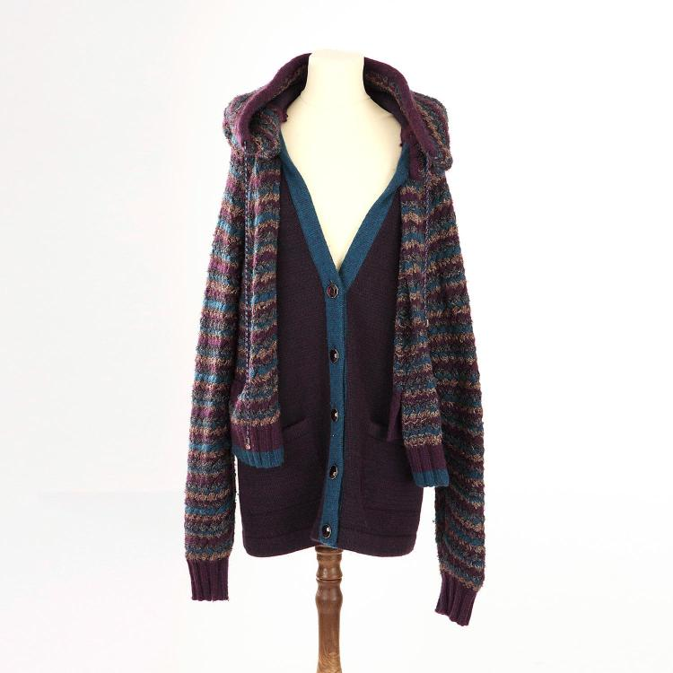 CHANEL Veste Chanel en cachemire & laine violet et bleu