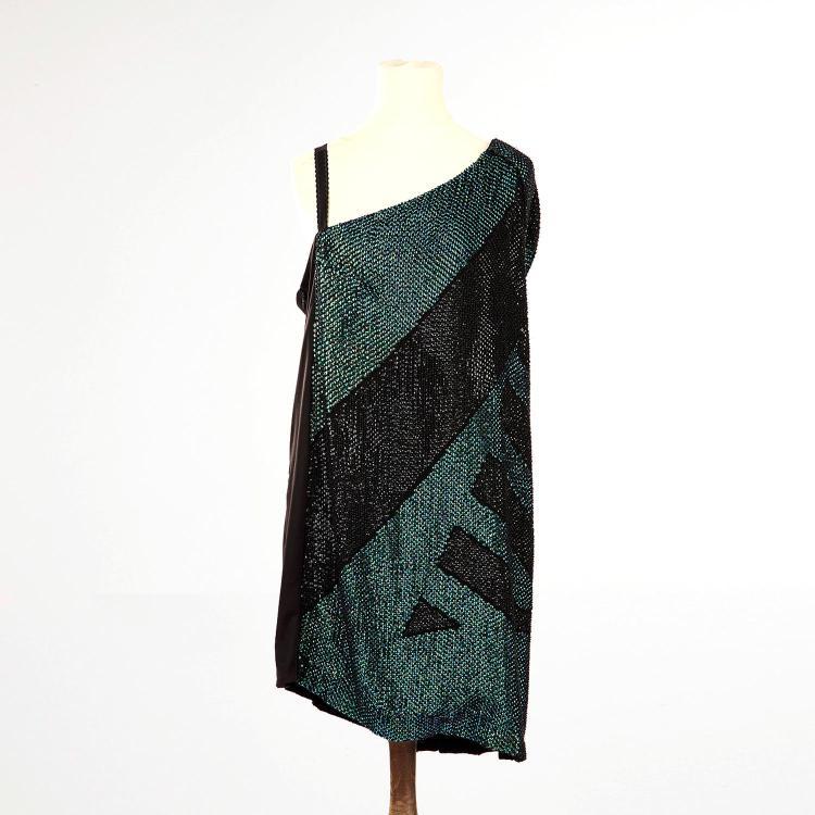 GUCCI Robe Gucci asymétrique noire brodée de sequins verts et noirs