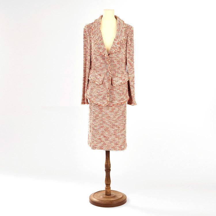 ST JOHN Couture Ensemble St John Couture: tailleur veste & jupe camaïeu rose en laine