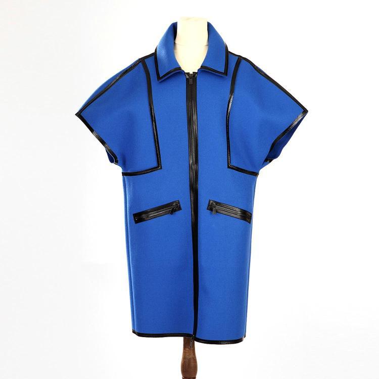 MICHAEL KORS Manteau Michael Kors en laine bleu et détails noirs vernis