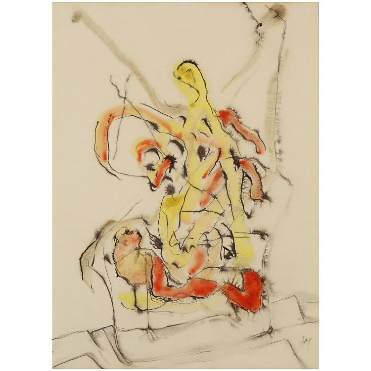 Henri Michaux (1899-1984). Sans titre, circa 1956. India ink and watercolor on paper; signed with the artist's monogram lower right. 15