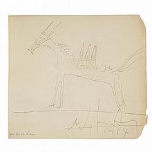 Wifredo Lam (1902-1982). Sans titre, 1954. Pencil on paper; signed lower left; signed and dated lower right. 5 1/2 x 5 7/8 in.