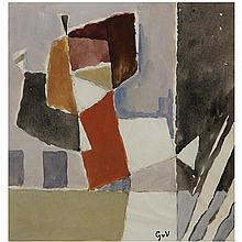 Geer Van Velde (1898-1977). Composition. Gouache on paper; signed with initials lower right. 8 5/8 x 8 1/4 in.
